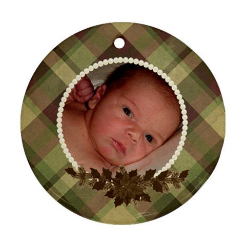 Family Ornament   Plaid And Pearls By Klh   Ornament (round)   1igo3bptlllq   Www Artscow Com Front