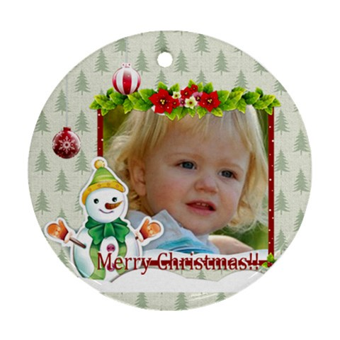 Christmas By Wood Johnson   Ornament (round)   Dp0cbg0v4hda   Www Artscow Com Front