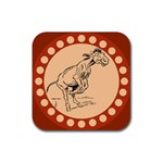 Naughty donkey Rubber Square Coaster (4 pack)