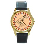 Naughty donkey Round Gold Metal Watch