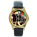 POKER700X600 Round Gold Metal Watch