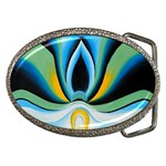 blue flowers Belt Buckle