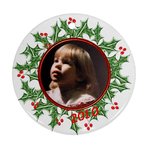Round Wreath Ornament  By Laurrie   Ornament (round)   B4yp7hi5zroc   Www Artscow Com Front
