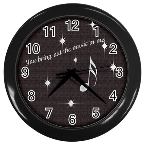 Bkack Music Clock By Laurrie   Wall Clock (black)   Id9pzzd1gxd3   Www Artscow Com Front