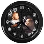 starry night clock - Wall Clock (Black)