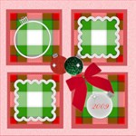 Green Red Ornament Scrapbook pg 12x12 - ScrapBook Page 12  x 12