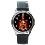 NEW HOT RARE Guitar Round Metal Watch