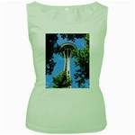 Space Needle Women s Green Tank Top