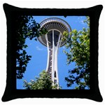 Space Needle Throw Pillow Case (Black)