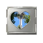 Space Needle Mega Link Heart Italian Charm (18mm)