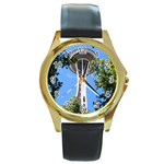 Space Needle Round Gold Metal Watch