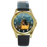 Great wall Round Gold Metal Watch
