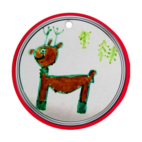 Reindeer Ornament By Catvinnat   Ornament (round)   2l2hzdc6zvwu   Www Artscow Com Front