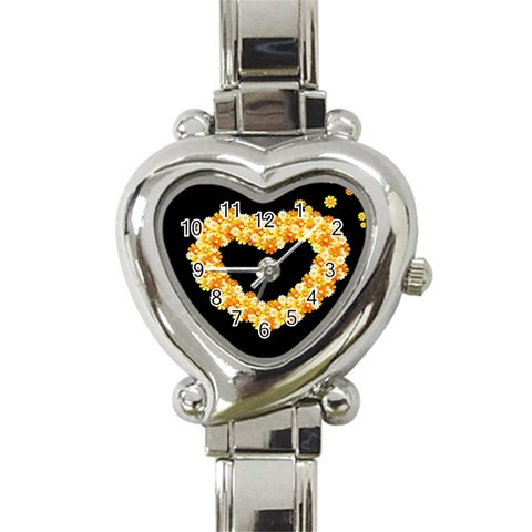 Floral Heart Valentine Watch By Catvinnat   Heart Italian Charm Watch   Upmpzrb1shm0   Www Artscow Com Front