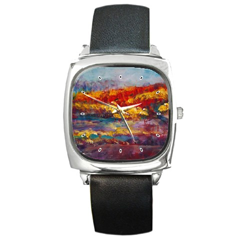 Autumn On The Horizon By Alana   Square Metal Watch   Zqeuy7rggbzz   Www Artscow Com Front