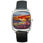 Autumn on the Horizon - Square Metal Watch