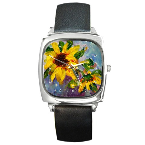 Single Sunflower By Alana   Square Metal Watch   E1r8cwyk41z6   Www Artscow Com Front