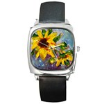 Single Sunflower - Square Metal Watch