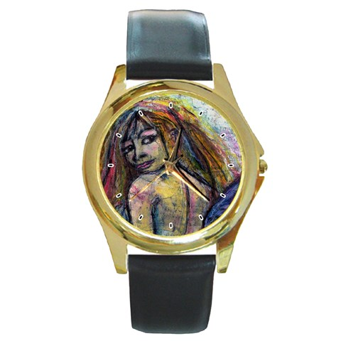 Looking For Direction By Alana   Round Gold Metal Watch   Ay2k62zj13ga   Www Artscow Com Front