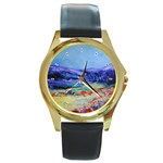 Blue Ridge - Round Gold Metal Watch