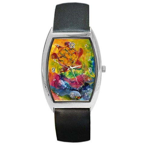 Turtle Descending By Alana   Barrel Style Metal Watch   S91xs1p1t99i   Www Artscow Com Front