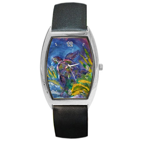 Turtle Ascending By Alana   Barrel Style Metal Watch   3gm7vrdpjx0o   Www Artscow Com Front
