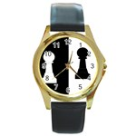 pawnchess792X670 Round Gold Metal Watch