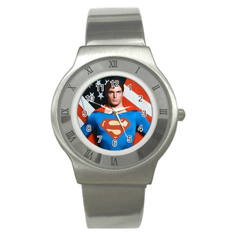 Superman Watch By Angela Cole   Stainless Steel Watch   5rzoee9bd0u0   Www Artscow Com Front