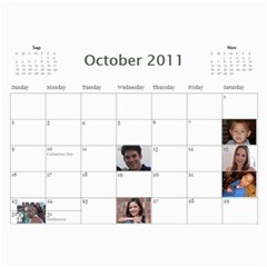 Michelle s Family Calender By Michelle   Wall Calendar 11  X 8 5  (12 Months)   0il0kml1psc4   Www Artscow Com Oct 2011