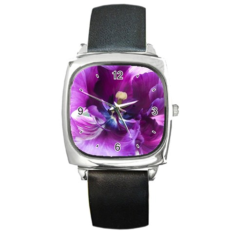 Purple Tulip By Alana   Square Metal Watch   23v4s4a3g5rj   Www Artscow Com Front