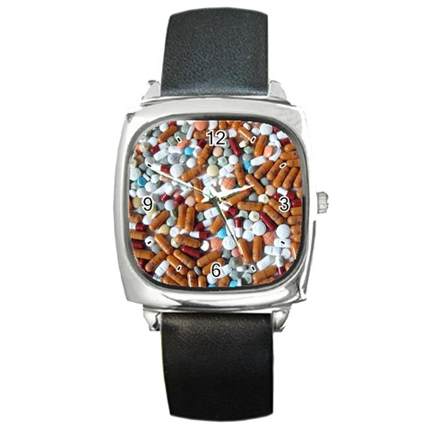 Time To Take Your Pills! By Alana   Square Metal Watch   Gdg1fd6esa2s   Www Artscow Com Front