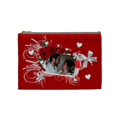 Cosmetic Bag Valentine Love By Laurrie   Cosmetic Bag (medium)   Yu9v3sab5cey   Www Artscow Com Front