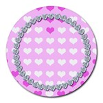 Cute hearts mousepad - Round Mousepad