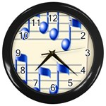 music_notes_2 Wall Clock (Black)