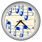 music_notes_2 Wall Clock (Silver)