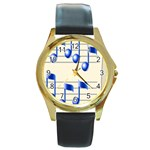 music_notes_2 Round Gold Metal Watch