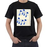 music_notes_2 Black T-Shirt (Two Sides)