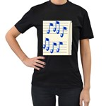 music_notes_2 Women s Black T-Shirt (Two Sides)