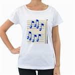 music_notes_2 Maternity White T-Shirt