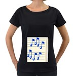 music_notes_2 Maternity Black T-Shirt