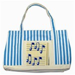 music_notes_2 Striped Blue Tote Bag