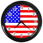 Flag of United States Wall Clock (Black)