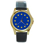 European Union Round Gold Metal Watch