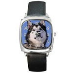 Alaskan Malamute Dog Square Metal Watch