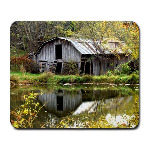 Seeing Double Barns By Bonnie Cheshier   Large Mousepad   Vduyk48c18r1   Www Artscow Com Front