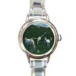 Two White Horses 0002 Round Italian Charm Watch
