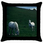 Two White Horses 0002 Throw Pillow Case (Black)