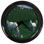 Two White Horses 0002 Wall Clock (Black)