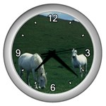Two White Horses 0002 Wall Clock (Silver)