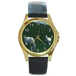 Two White Horses 0002 Round Gold Metal Watch